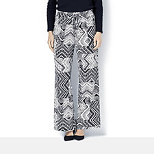 Printed Wide Leg Drawstring Waist Trousers by Nina Leonard