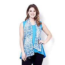 160133 - Chelsea Muse by Christopher Fink High-Low Hem Vest with Scarf Set