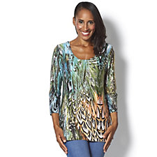 Attitudes by Renee Feather Print Jersey Top