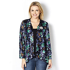 Bloomingdale Floral Burnout Cardigan with Diamante Brooch by Michele Hope