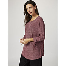 Fashion by Together Melange Tunic with Lace Up Sleeve Detail