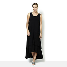 Join Clothes Round Neck Layered Hem Maxi Dress
