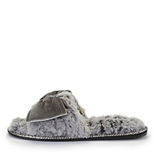 Pretty You London Violet Faux Fur One Band Slippers with Large Bow
