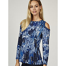Printed Textured Liquid Knit Cold Shoulder Top by Susan Graver