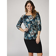 Mr Max Animal Print Brazil Knit Tunic Top with 3/4 Sleeves