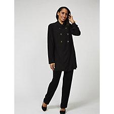 170733 - Antthony Designs Asymmetric Front Jacket & Short Sleeve Top Set