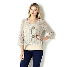 Textured Cardigan with Novelty Buttons by Nina Leonard