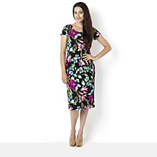 Ronni Nicole 'O So Slim' Floral Textured Print Dress