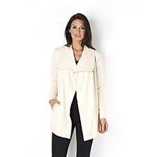 H by Halston Drape Collar French Terry Jacket