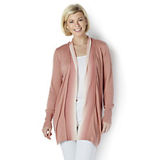H by Halston Long Sleeves Open Front Cardigan with Ombre Trim