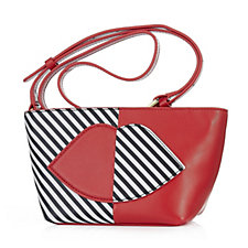Lulu Guinness Small Pixie Leather 50:50 Stripe Lip Crossbody Bag