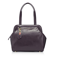 Lulu Guinness Large Paula Grainy Patent Leather Handbag with Lip Charm