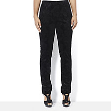 Stretch Damask Velvet Burnout Slim Leg Trousers by Nina Leonard