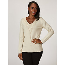 Fashion by Together V Neck Top with Crochet Lace Detail