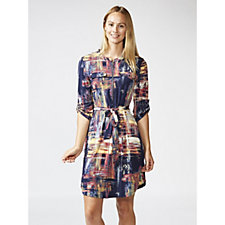 Printed 3/4 Sleeve Dress with Faux Pockets & Zip by Nina Leonard