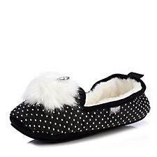 Pretty You London Victoria Pom Pom Ballet Pump Slippers