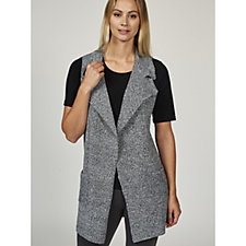 Absolutely Famous Notch Collar Long Vest with Pockets