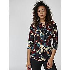 Mr Max Printed Brazil Knit Top with Criss Cross Detail