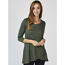 Grace 3/4 Sleeve Stud Detail Tunic with Tulip Hem