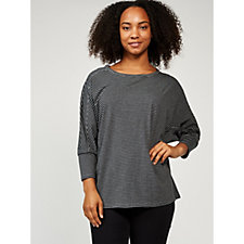 Anybody Loungewear Cozy Knit Dolman Sleeve Striped Top