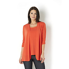 123435 - Kim & Co Stretch Crepe 3/4 Ruched Sleeve Edge to Edge Cardigan