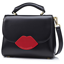 Lulu Guinness Small Izzy Polished Leather Handbag with Detachable Strap
