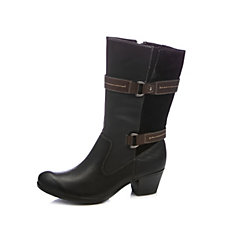 Earth Spirit Oregon Leather Mid Calf Boot with Strap & Buckle Detail