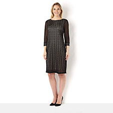 Tiana B 3/4 Sleeve Chevron Lace Shift Dress