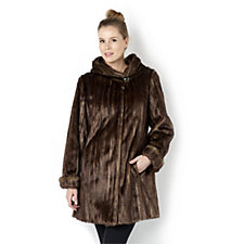 Dennis Basso Platinum Collection Faux Fur Hooded Jacket