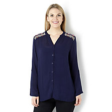 Fashion by Together Embroidered Shoulder Shirt