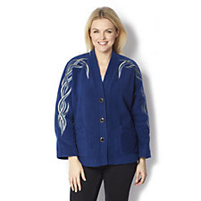 Bob Mackie Embroidered Fleece Jacket with Front Pockets