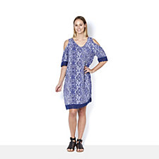 Fashion by Together Printed Cold Shoulder Dress