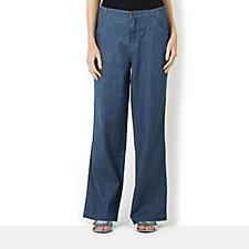 Denim & Co. Stretch Chambray Wide Leg Trousers