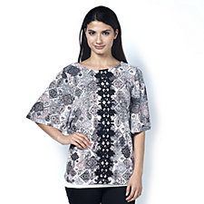 Printed Jewel Neck Top with Flutter Sleeves by Nina Leonard