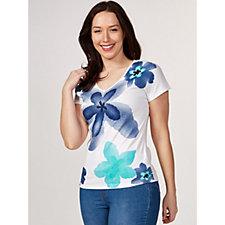 Marble Floral Print V-Neck T-Shirt