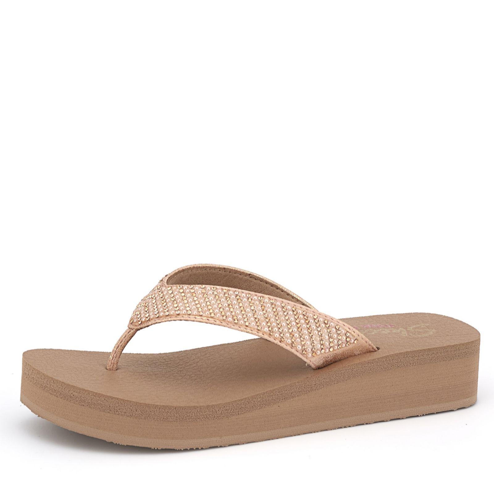 Skechers Vinyasa Pearl & Rhinestone Toe Post Sandal with Yoga Foam - QVC UK