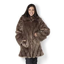 Dennis Basso Platinum Collection Chevron Pelted Faux Fur Coat