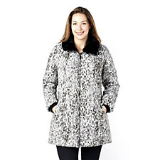 Dennis Basso Water Resistant Animal Print Jacket with Faux Fur Collar