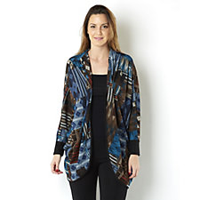 Chelsea Muse by Christopher Fink Dolman Sleeve Printed Hacci Knit Cardigan