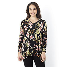 Kim & Co Oriental Orchid Brazil Knit Long Sleeve Tunic