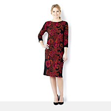 Tiana B 3/4 Sleeve Paisley Print Round Neck Jersey Dress