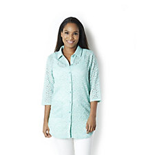 159636 - Crystal Lace 3/4 Sleeve Shirt by Michele Hope