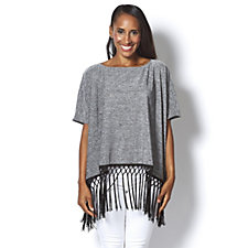 Attitudes by Renee Melange Knit Poncho with Fringe Trim