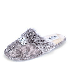 161236 - Pretty You London Patty Faux Fur Trim Mule Slippers with Decorative Jewel