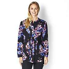 Isaac Mizrahi Live Printed Pleat Front Tunic Top