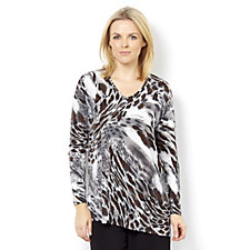 Kim & Co Brazil Knit w/Foil Glamorous Leo Long Sleeve Asymmetric Tunic