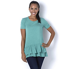 Logo by Lori Goldstein Short Sleeve Top with Ruffle Hem