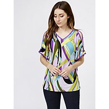 Printed Liquid Knit Split Sleeve Top by Susan Graver
