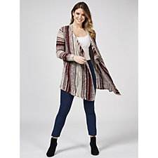 Absolutely Famous Texture Stripe Pointelle Cascade Cardigan
