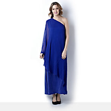 Join Clothes Crepe Silk Chiffon One Shoulder Grecian Dress